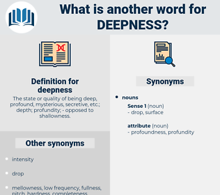 deepness, synonym deepness, another word for deepness, words like deepness, thesaurus deepness
