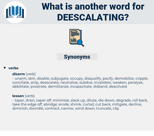 deescalating, synonym deescalating, another word for deescalating, words like deescalating, thesaurus deescalating