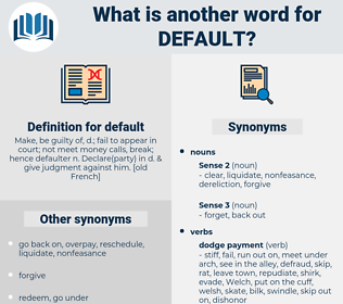 default, synonym default, another word for default, words like default, thesaurus default
