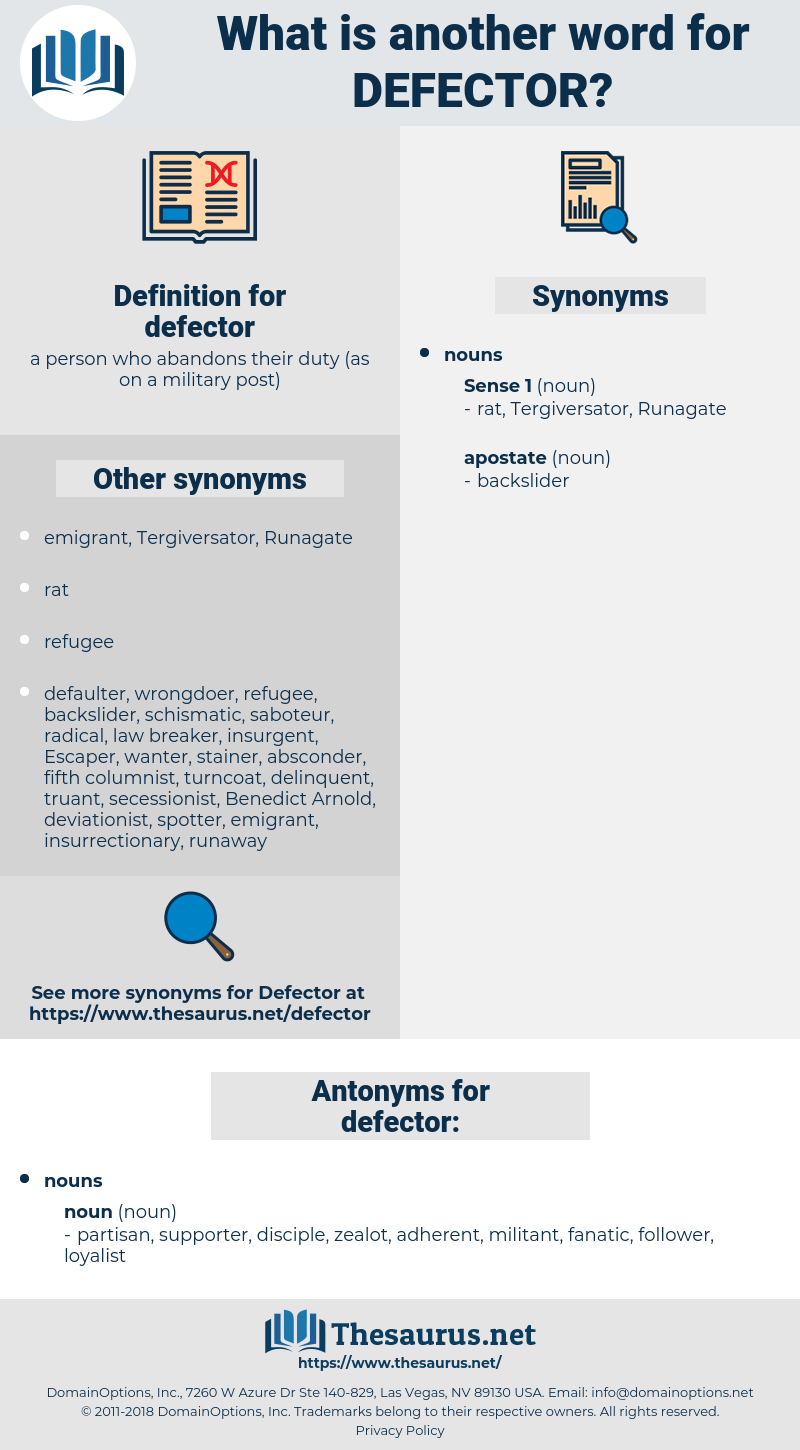 Synonyms for DEFECTOR, Antonyms for DEFECTOR - Thesaurus net
