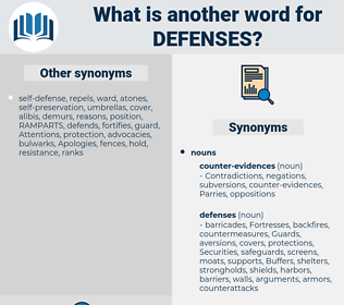 defenses, synonym defenses, another word for defenses, words like defenses, thesaurus defenses