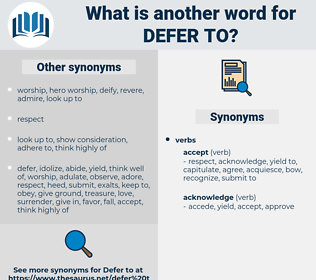 defer to, synonym defer to, another word for defer to, words like defer to, thesaurus defer to