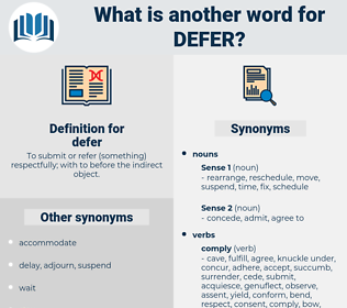 defer, synonym defer, another word for defer, words like defer, thesaurus defer