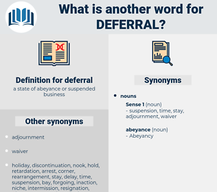 deferral, synonym deferral, another word for deferral, words like deferral, thesaurus deferral
