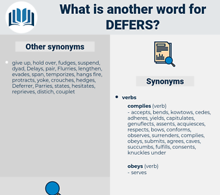 defers, synonym defers, another word for defers, words like defers, thesaurus defers