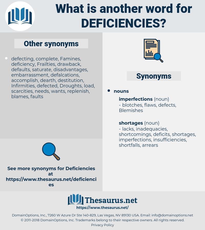 Deficiencies, synonym Deficiencies, another word for Deficiencies, words like Deficiencies, thesaurus Deficiencies