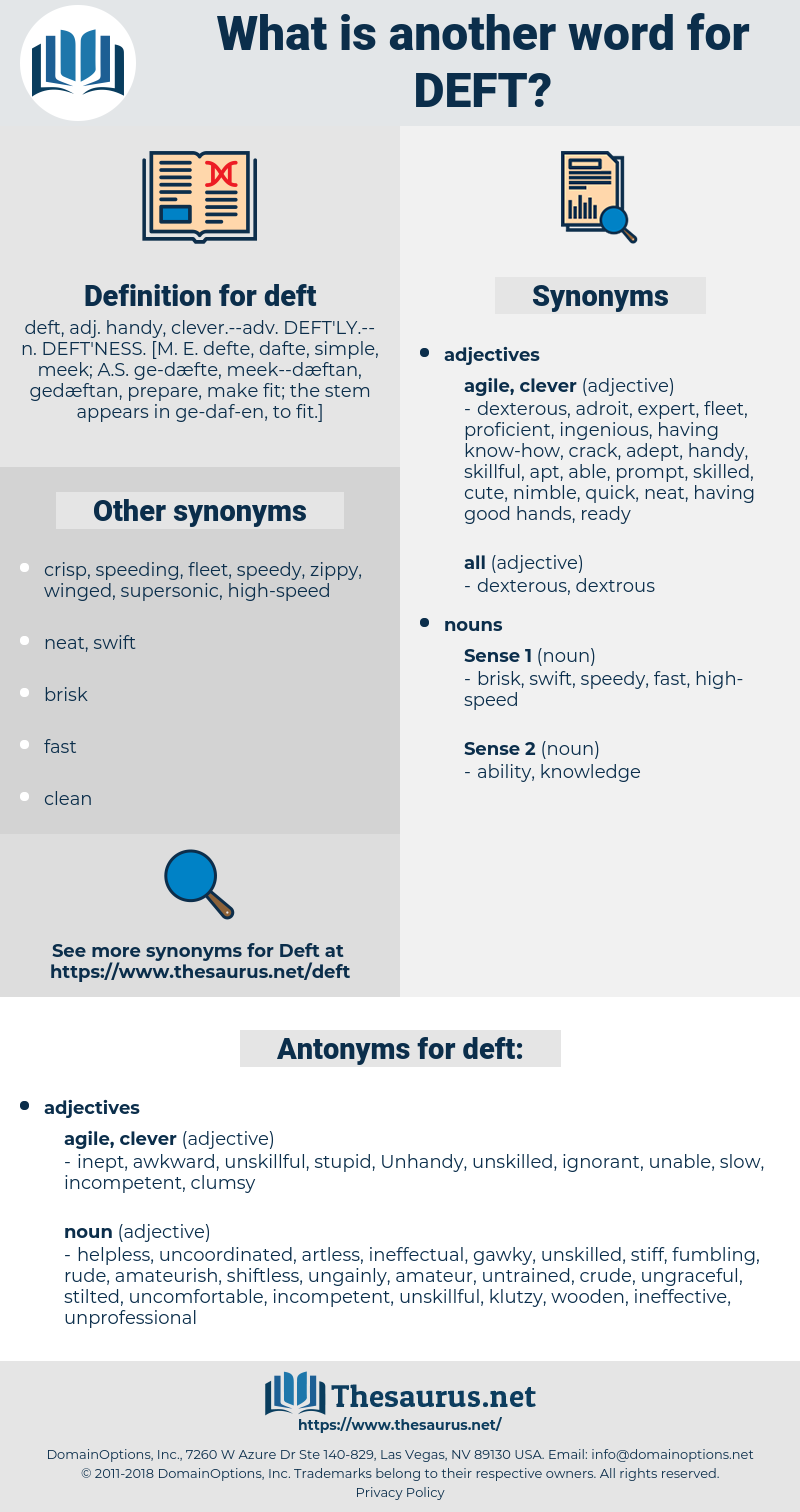 deft, synonym deft, another word for deft, words like deft, thesaurus deft