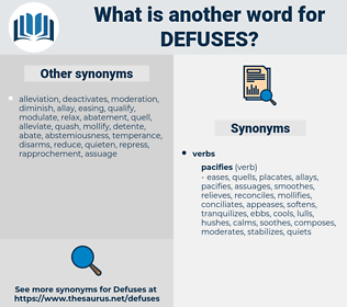 defuses, synonym defuses, another word for defuses, words like defuses, thesaurus defuses