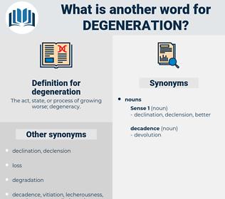 degeneration, synonym degeneration, another word for degeneration, words like degeneration, thesaurus degeneration