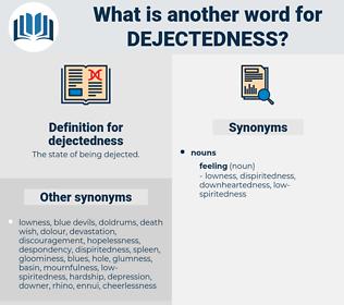 dejectedness, synonym dejectedness, another word for dejectedness, words like dejectedness, thesaurus dejectedness