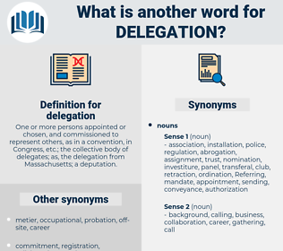 delegation, synonym delegation, another word for delegation, words like delegation, thesaurus delegation