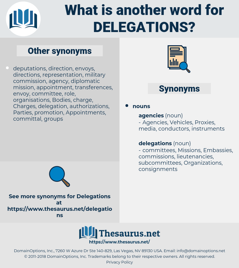 delegations, synonym delegations, another word for delegations, words like delegations, thesaurus delegations
