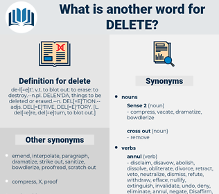 delete, synonym delete, another word for delete, words like delete, thesaurus delete