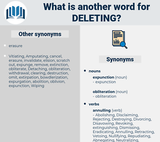 Deleting, synonym Deleting, another word for Deleting, words like Deleting, thesaurus Deleting
