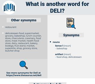 deli, synonym deli, another word for deli, words like deli, thesaurus deli