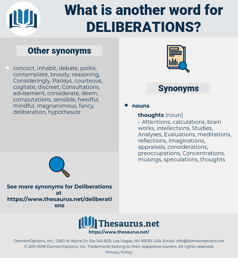 deliberations, synonym deliberations, another word for deliberations, words like deliberations, thesaurus deliberations