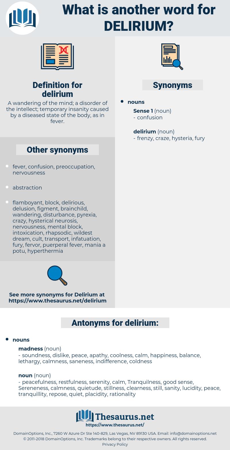 delirium, synonym delirium, another word for delirium, words like delirium, thesaurus delirium