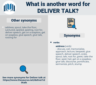deliver talk, synonym deliver talk, another word for deliver talk, words like deliver talk, thesaurus deliver talk