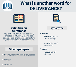 deliverance, synonym deliverance, another word for deliverance, words like deliverance, thesaurus deliverance