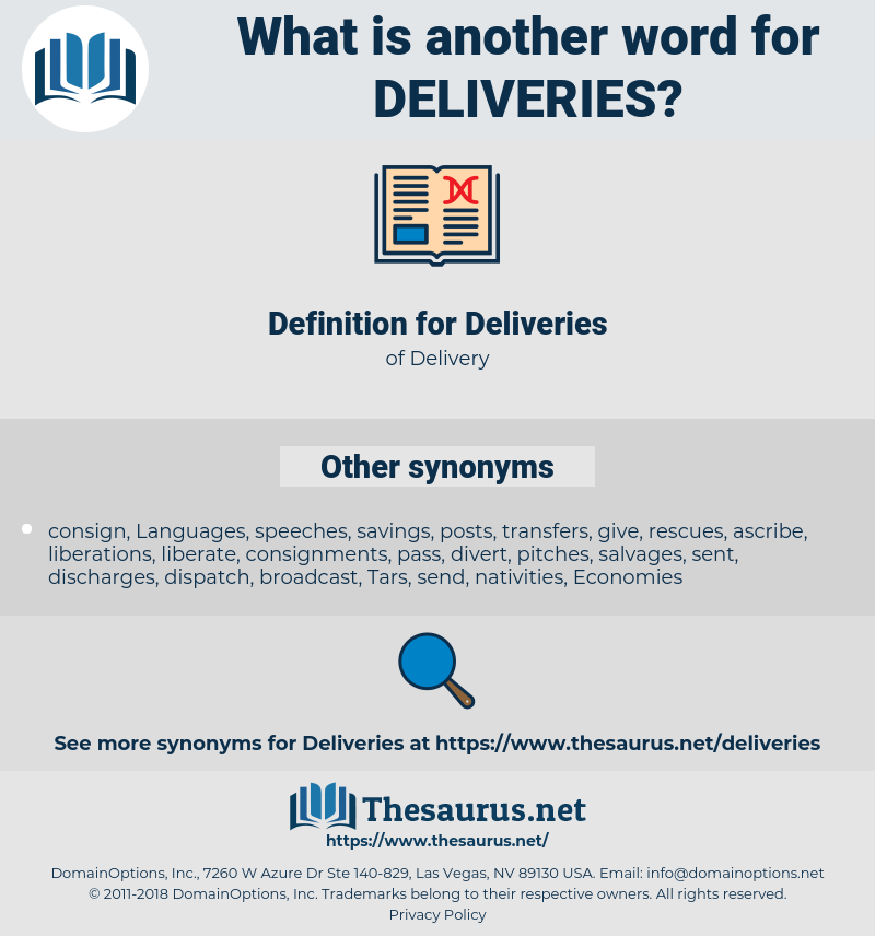 Deliveries, synonym Deliveries, another word for Deliveries, words like Deliveries, thesaurus Deliveries