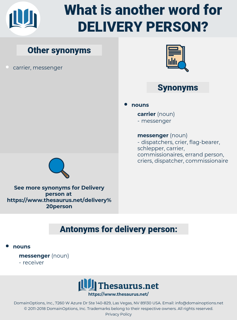 delivery person, synonym delivery person, another word for delivery person, words like delivery person, thesaurus delivery person