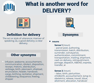 delivery, synonym delivery, another word for delivery, words like delivery, thesaurus delivery