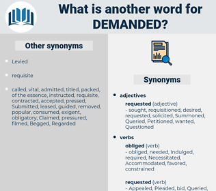Demanded, synonym Demanded, another word for Demanded, words like Demanded, thesaurus Demanded
