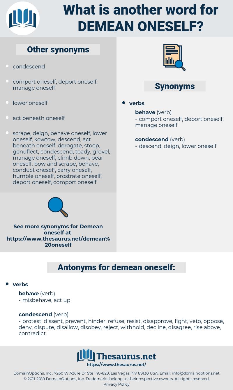demean oneself, synonym demean oneself, another word for demean oneself, words like demean oneself, thesaurus demean oneself