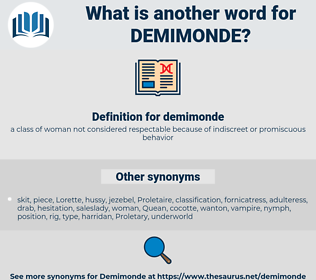 demimonde, synonym demimonde, another word for demimonde, words like demimonde, thesaurus demimonde