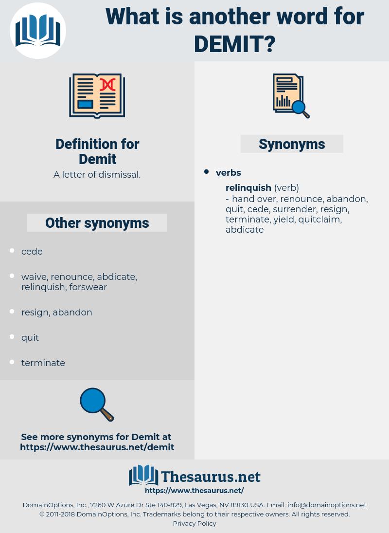 Demit, synonym Demit, another word for Demit, words like Demit, thesaurus Demit