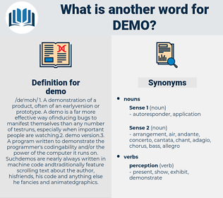 demo, synonym demo, another word for demo, words like demo, thesaurus demo