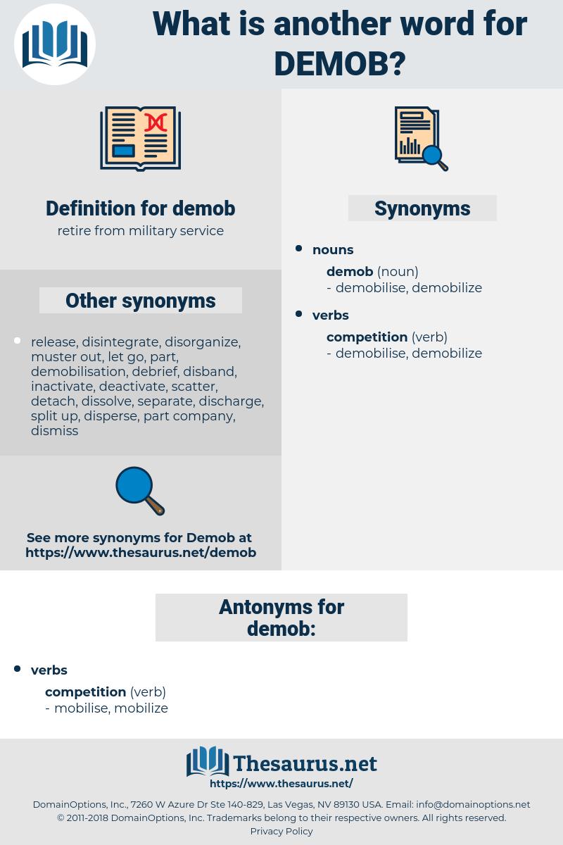 demob, synonym demob, another word for demob, words like demob, thesaurus demob