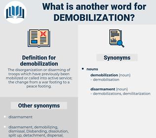 demobilization, synonym demobilization, another word for demobilization, words like demobilization, thesaurus demobilization