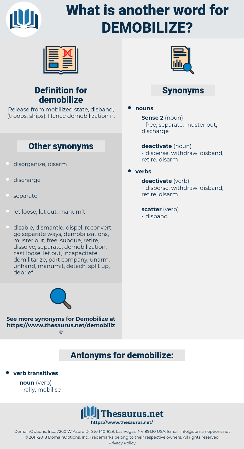 demobilize, synonym demobilize, another word for demobilize, words like demobilize, thesaurus demobilize