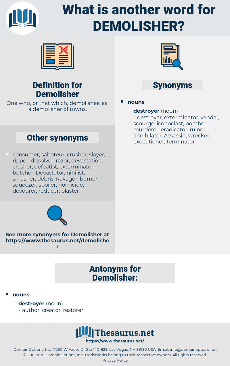 Demolisher, synonym Demolisher, another word for Demolisher, words like Demolisher, thesaurus Demolisher