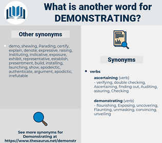 demonstrating, synonym demonstrating, another word for demonstrating, words like demonstrating, thesaurus demonstrating