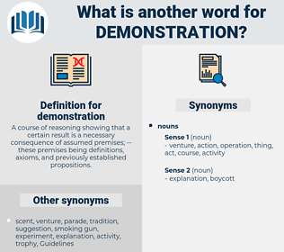 demonstration, synonym demonstration, another word for demonstration, words like demonstration, thesaurus demonstration