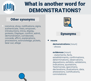 demonstrations, synonym demonstrations, another word for demonstrations, words like demonstrations, thesaurus demonstrations