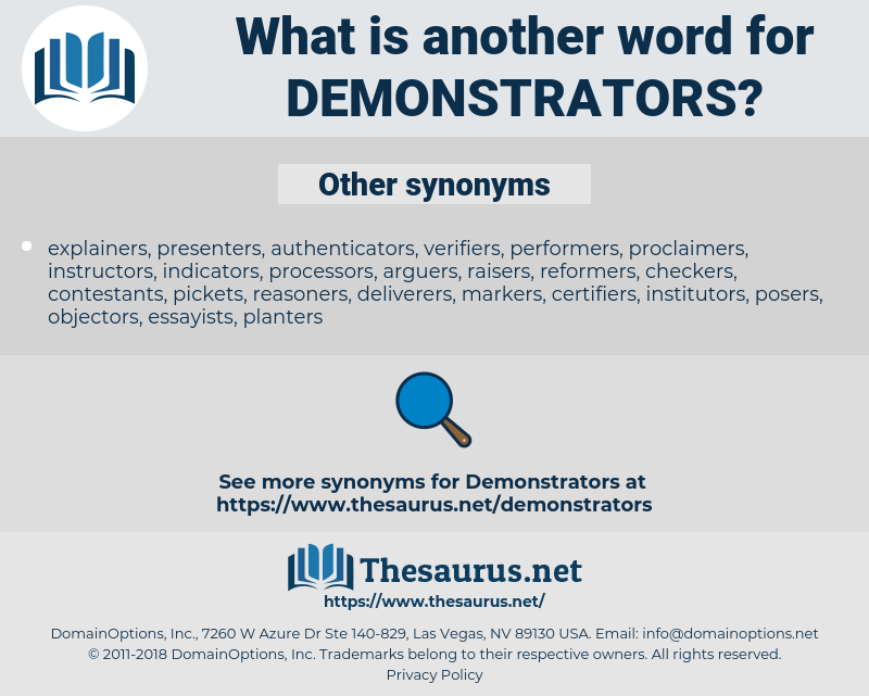 demonstrators, synonym demonstrators, another word for demonstrators, words like demonstrators, thesaurus demonstrators