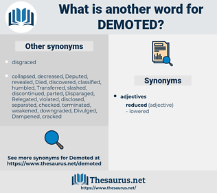 Demoted, synonym Demoted, another word for Demoted, words like Demoted, thesaurus Demoted