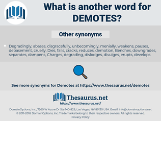 demotes, synonym demotes, another word for demotes, words like demotes, thesaurus demotes