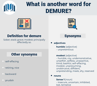 demure, synonym demure, another word for demure, words like demure, thesaurus demure