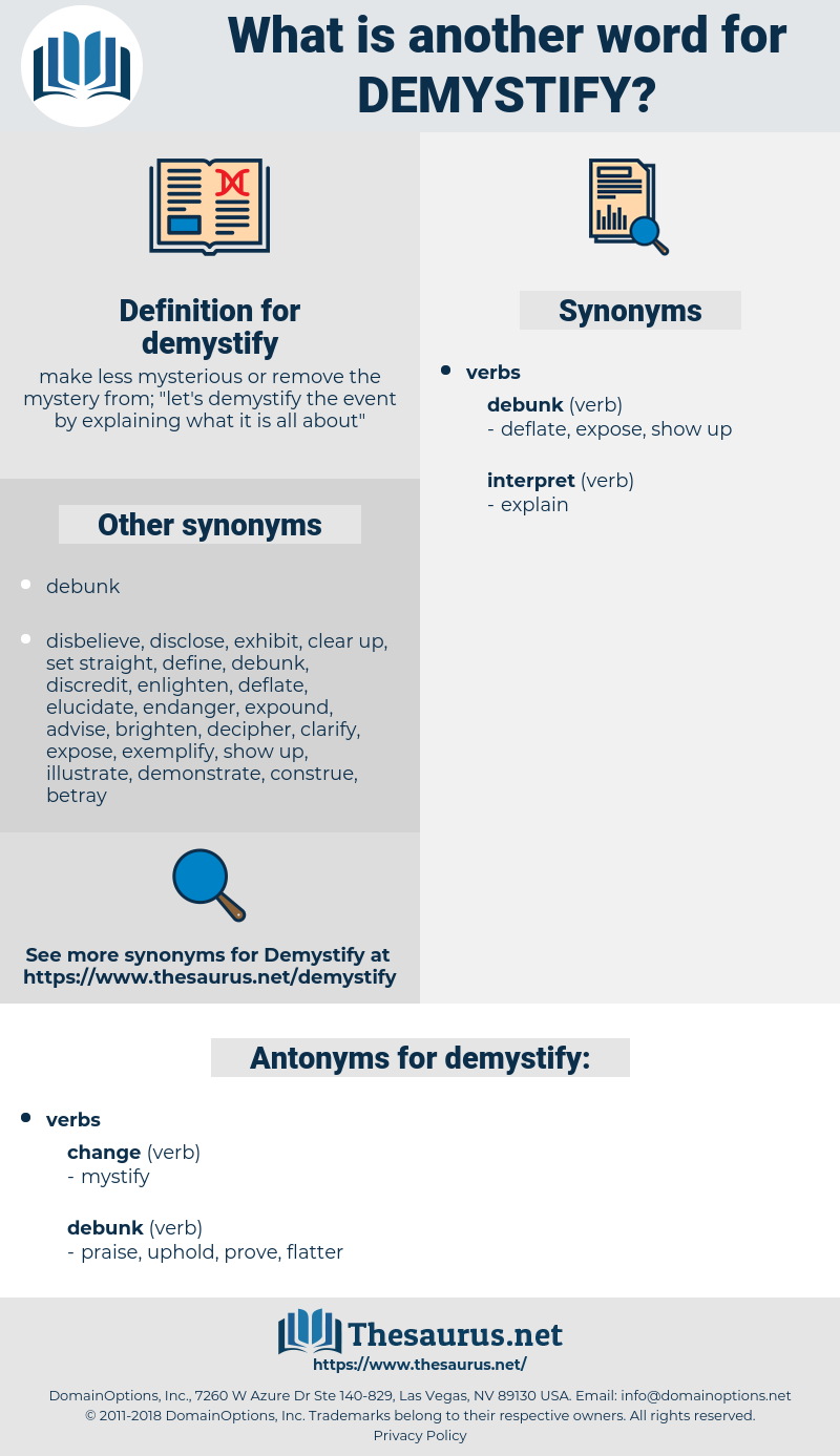 demystify, synonym demystify, another word for demystify, words like demystify, thesaurus demystify