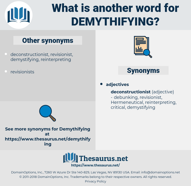 demythifying, synonym demythifying, another word for demythifying, words like demythifying, thesaurus demythifying