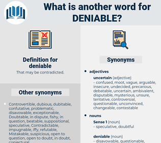 deniable, synonym deniable, another word for deniable, words like deniable, thesaurus deniable
