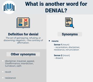 denial, synonym denial, another word for denial, words like denial, thesaurus denial