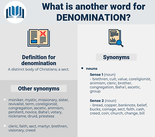 denomination, synonym denomination, another word for denomination, words like denomination, thesaurus denomination