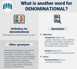 denominational, synonym denominational, another word for denominational, words like denominational, thesaurus denominational