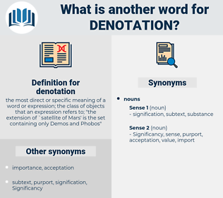 denotation, synonym denotation, another word for denotation, words like denotation, thesaurus denotation