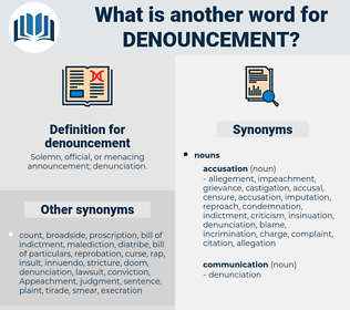 denouncement, synonym denouncement, another word for denouncement, words like denouncement, thesaurus denouncement